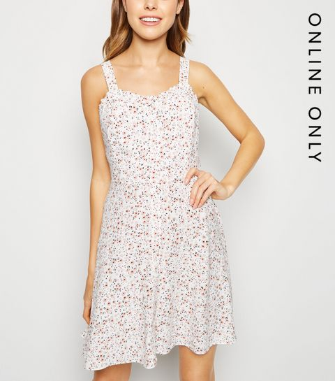 1847a369c19 ... Off White Ditsy Floral Frill Trim Mini Sundress ...
