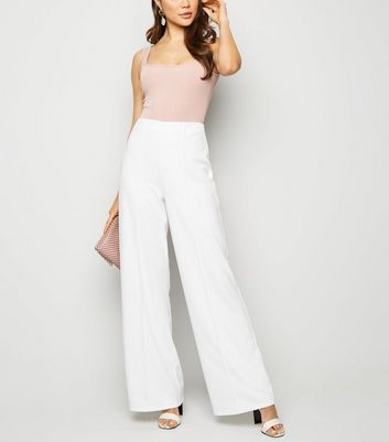 White Pintuck Wide Leg Trousers