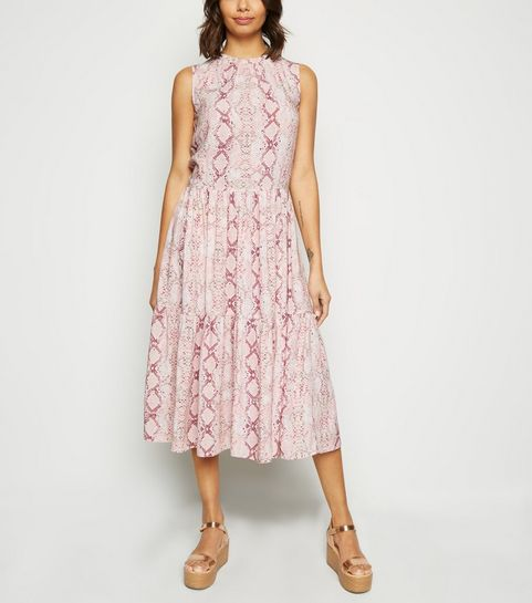 562519c9e8f ... Pink Snake Print Tiered Midi Smock Dress ...