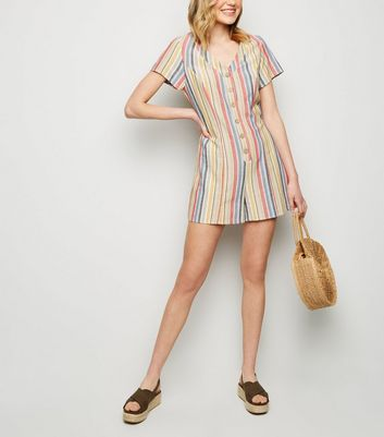 Red Stripe Linen Look Button Up Playsuit