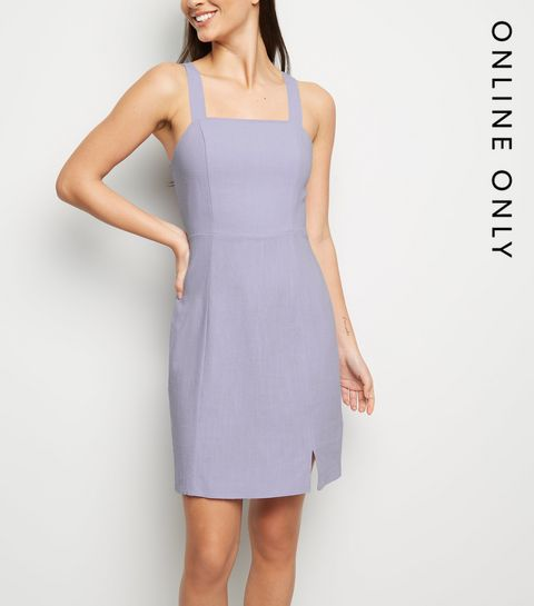 ad37e98dd3 ... Lilac Linen Look Pinafore Dress ...