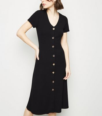 Black Jersey Button Up Midi Dress