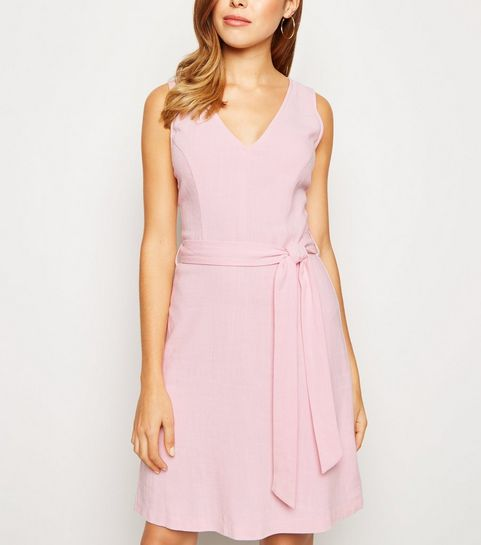 7a1bc1144f ... Pink Linen Look Belted Pinafore Dress ...