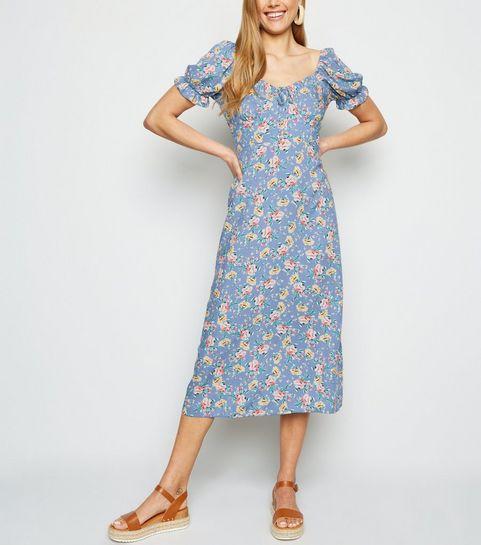 25535ae5f447 ... Blue Floral Off Shoulder Midi Milkmaid Dress ...