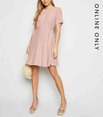 Pink Round Neck Tea Dress