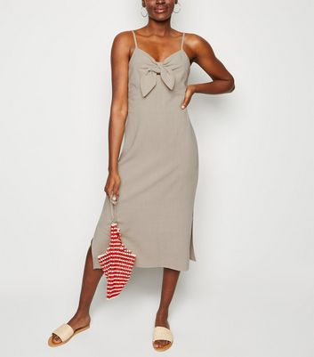 Stone Linen Look Tie Front Midi Dress