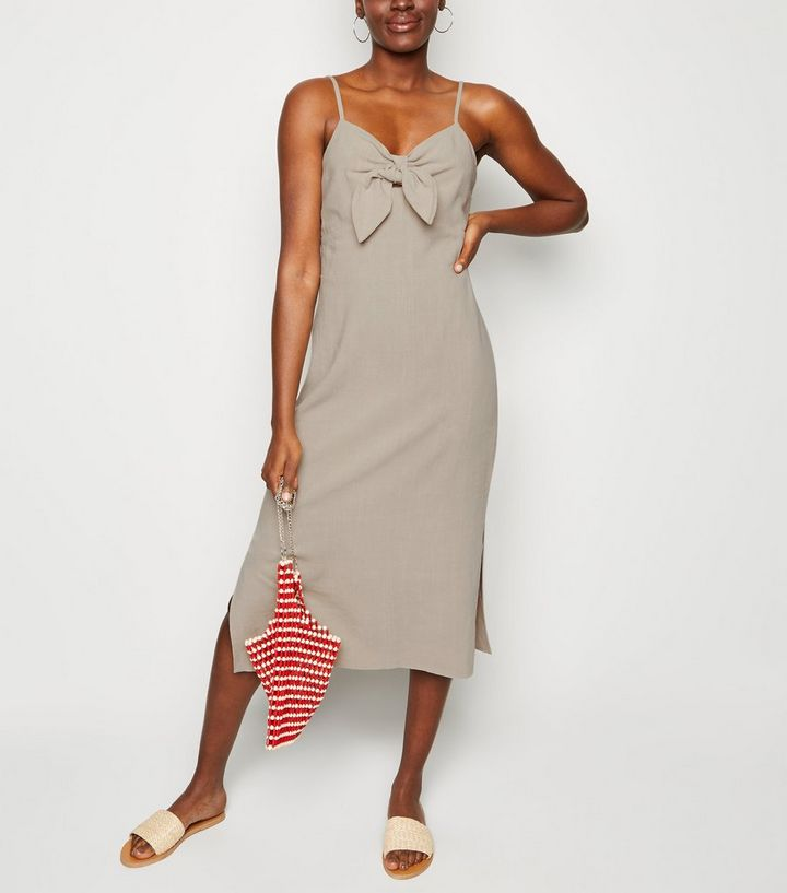 ce4778d86a Stone Linen-Look Tie Front Midi Dress | New Look