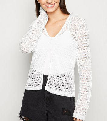 White Pointelle Knit Single Button Cardigan