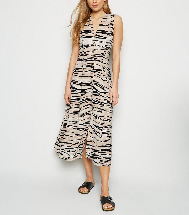 cb6940601981c Brown Zebra Print Sleeveless Button Up Midi Dress