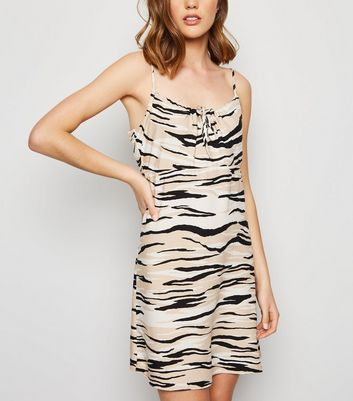 Brown Zebra Print Mini Slip Dress