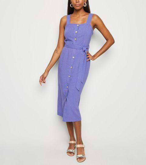b459b343e36 ... Blue Linen Look Button Front Midi Dress ...