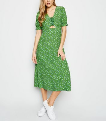 Green Ditsy Floral Lace Up Midi Dress