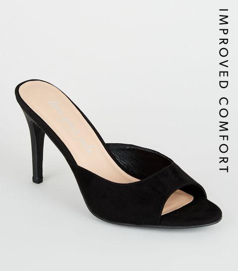 5c7470b169 Black Sudette Stiletto Heel Mules · Black Sudette Stiletto Heel Mules ...