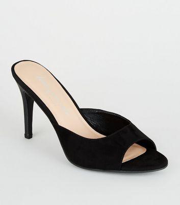 Black Sudette Stiletto Heel Mules | New