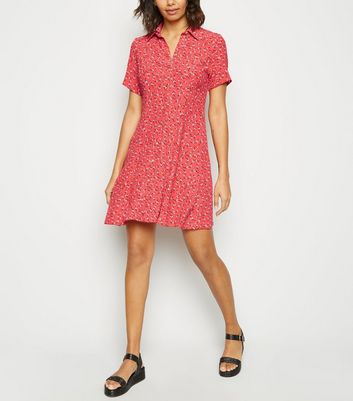 Red Ditsy Floral Print Collared Tea Dress