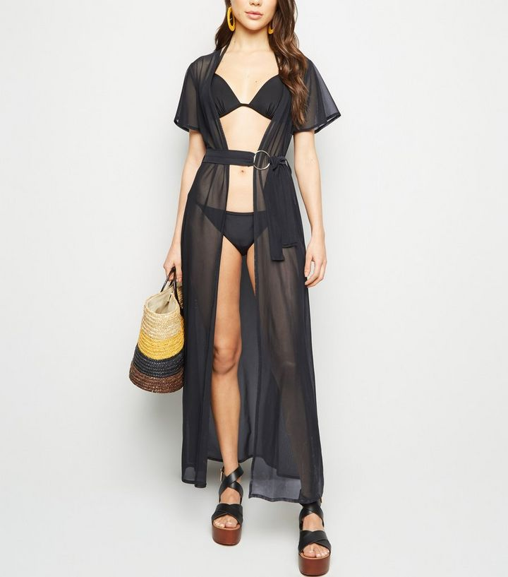 5ad9ab4ed4 Black Mesh Beach Kimono | New Look