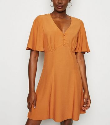 Rust Frill Sleeve Button Up Tea Dress