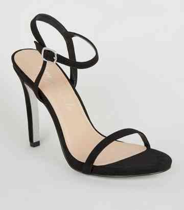 757689b1a Black Suedette Glitter Sole Heels ...