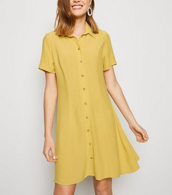 Pale Yellow Short Sleeve Shirt Tea Dress