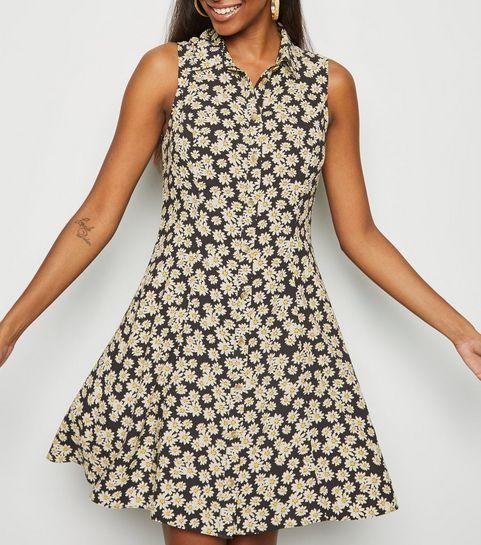 aaf8953477e8 ... Black Daisy Print Sleeveless Shirt Dress ...