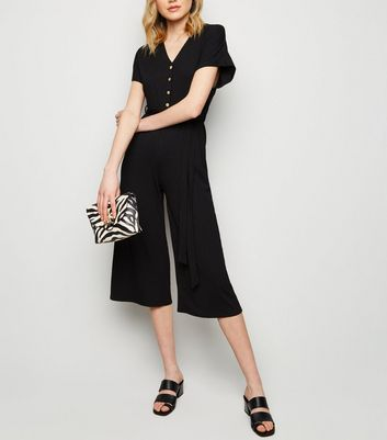 Black Ribbed Button Up Tie Waist Jumpsuit