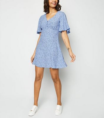 Blue Ditsy Floral Button Up Tea Dress