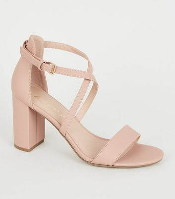 Pink Leather-Look Cross Strap Block Heels