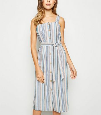 Blue Stripe Linen Look Button Up Midi Dress