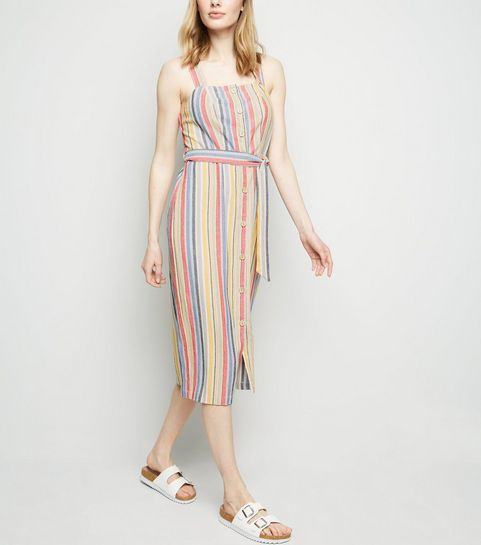f6fed5021c ... Red Stripe Linen Look Button Up Midi Dress ...