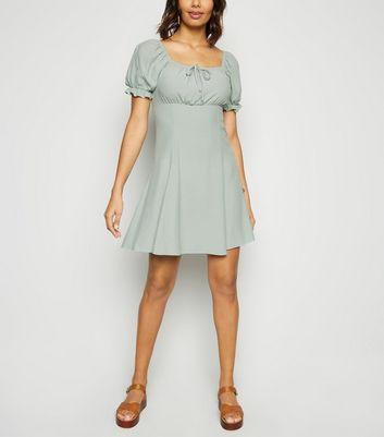 Light Green Milkmaid Tea Dress