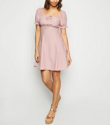 Pink Milkmaid Tea Dress by New Look