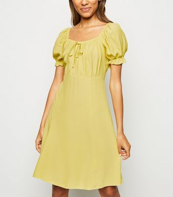 Pale Yellow Milkmaid Tea Dress
