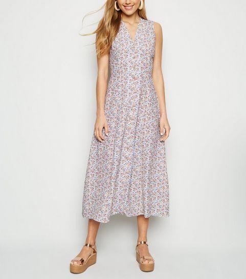 21af1095bc26 ... Light Grey Ditsy Floral Sleeveless Midi Dress ...