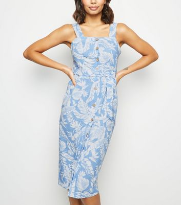 Blue Tropical Linen Blend Midi Dress