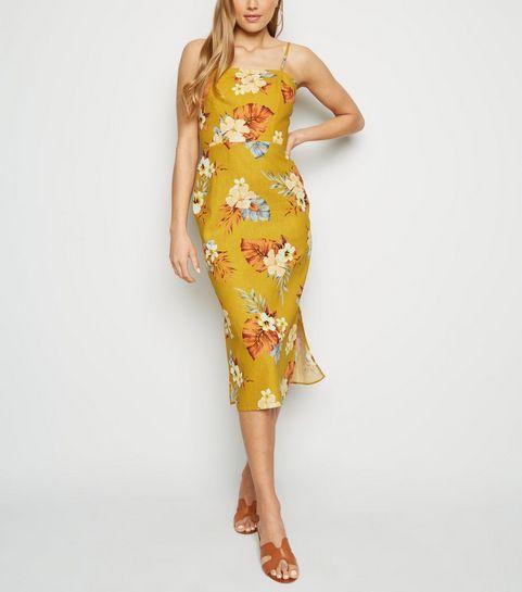 8a69afe2dfc ... Mustard Tropical Print Linen Blend Midi Dress ...