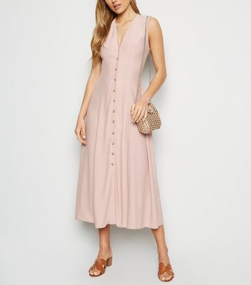 Pink Tie Back Button Up Midi Dress