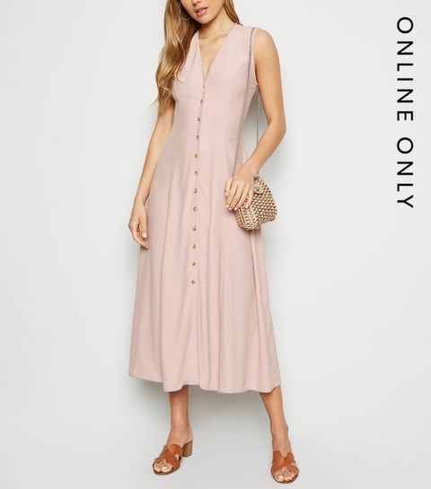 9bc2bb0a1e ... Pink Tie Back Button Up Midi Dress ...