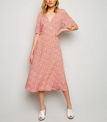 Red Ditsy Floral Button Up Wrap Midi Dress