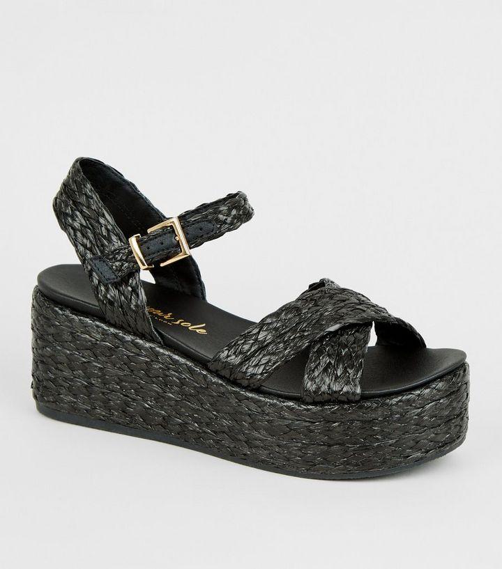 46f7ad889c7 Black Woven Raffia Flatform Footbed Sandals   New Look