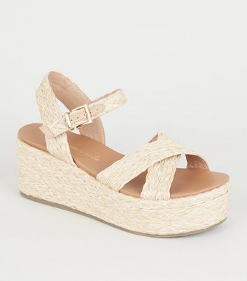 Off White Woven Raffia Flatform Footbed Sandals