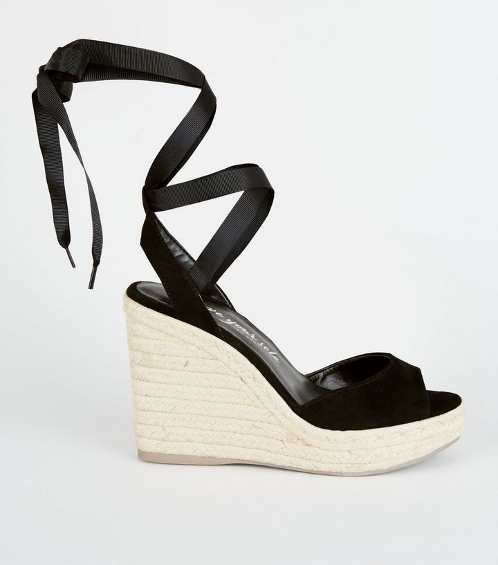 dd132879d6c Black Suedette Ankle Tie Espadrille Wedges Add to Saved Items Remove from  Saved Items