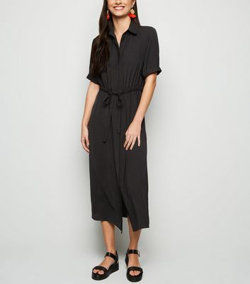 Black Drawstring Waist Midi Shirt Dress