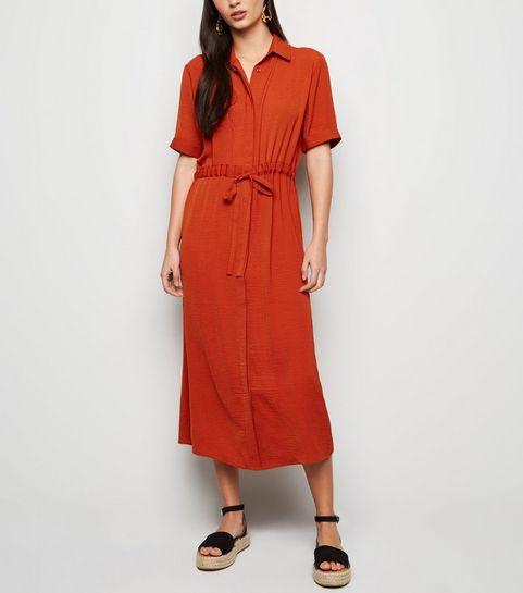 ... Rust Drawstring Waist Midi Shirt Dress ... bba5e87ec8b7