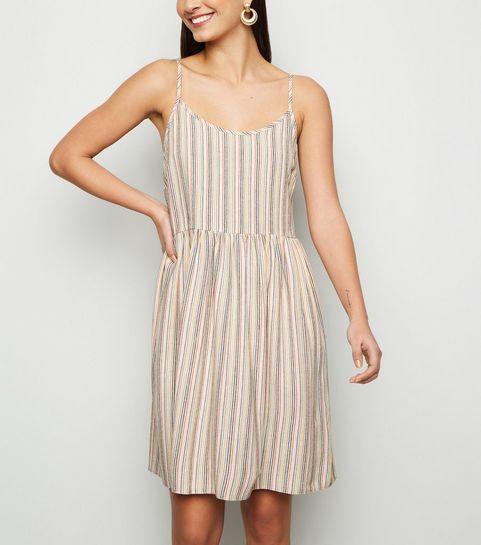 fdd0f569f68 ... White Stripe Linen Look Smock Sundress ...