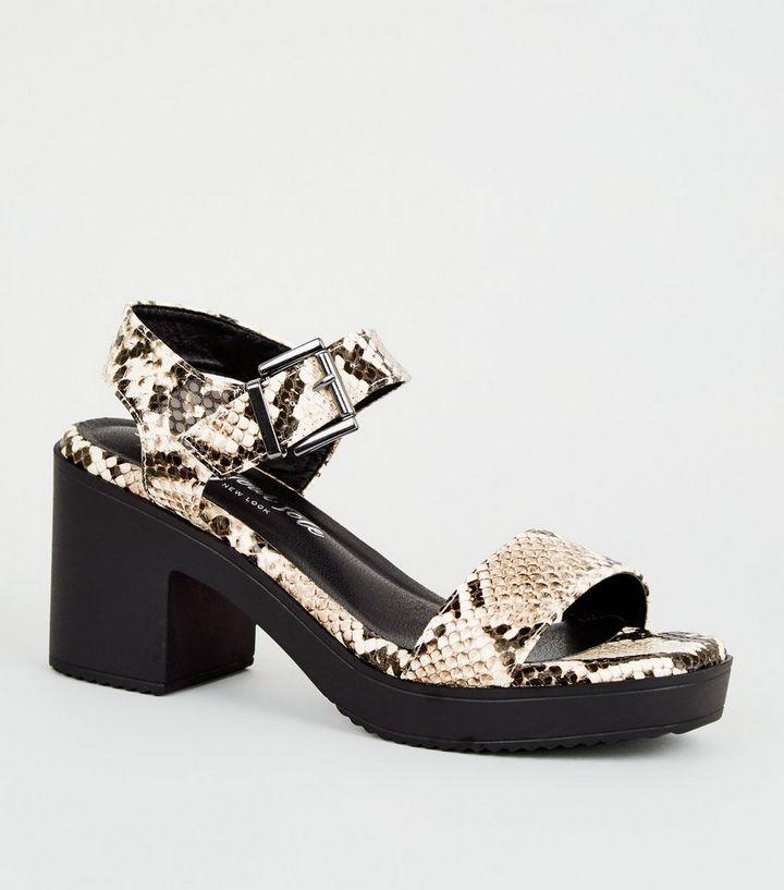 8b8091dd7cf15 Stone Faux Snake Block Heel Chunky Sandals | New Look
