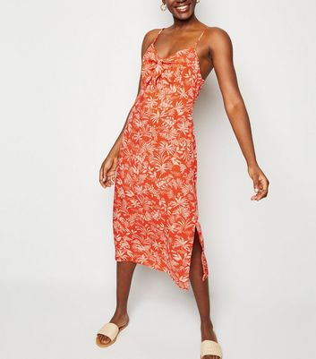 Red Tropical Tie Front Midi Slip Dress