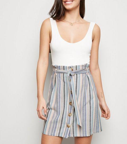 a0693c6c56 ... Pink Multi Stripe Paperbag Waist Mini Skirt ...