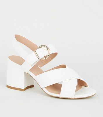 Girls White Faux Croc Strappy Block Heels