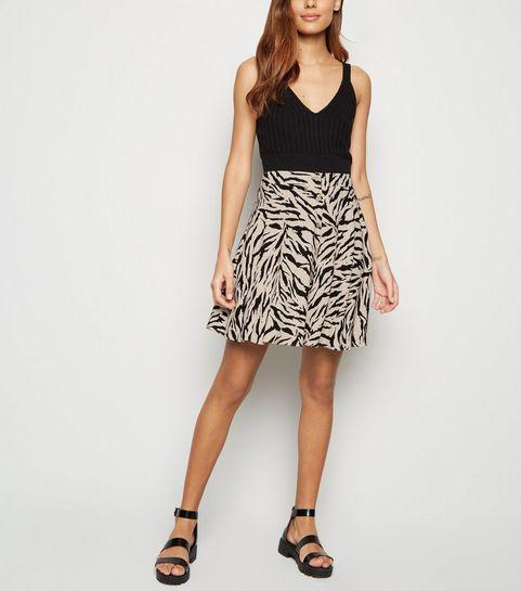 7d0fff7c775 ... Brown Tiger Print Button Up Mini Skirt ...