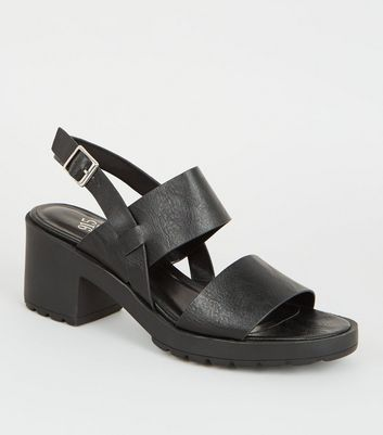 Girls Black Leather-Look Chunky Block Heels